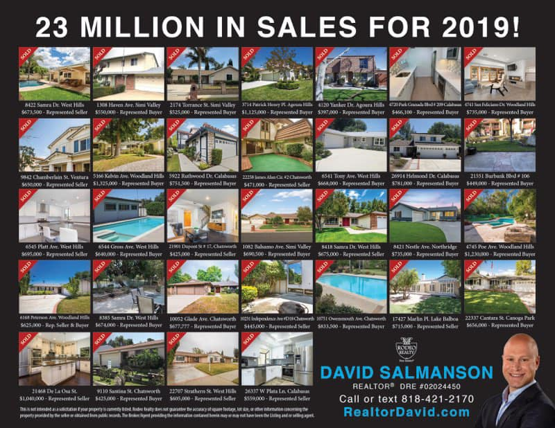 Calabasas Realtor David Salmanson home sales